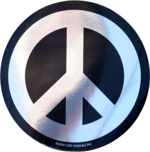 Chrome and Black Peace Sign - Bumper Sticker