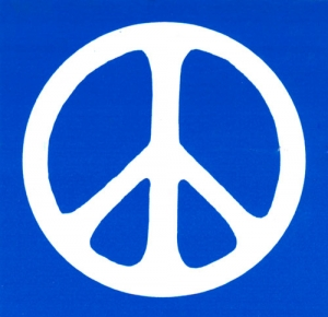 S479 - Peace Sign - White over Aqua - Bumper Sticker