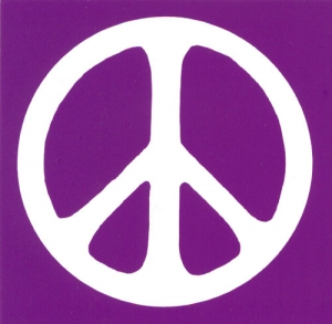 S493 - Peace Sign - White over Purple - Bumper Sticker