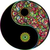 "Love Harmony Yin Yang Symbol - Bumper Sticker / Decal (4.5"" circular)"