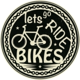 "Let's Go Ride Bikes - Bumper Sticker / Decal (4.5"" circular)"