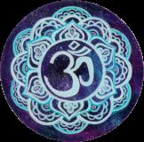 "Starry Blue Om - Small Bumper Sticker / Decal (3"" circular)"