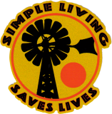 """Simple Living Saves Lives - Small Bumper Sticker / Decal  (3"""" Circular)"""