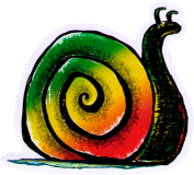 "Rasta Snail - Small Bumper Sticker / Decal (3"" X 3"")"