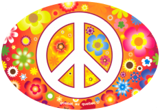 """Peace Sign over Hippie Flowers - Small Oval Bumper Sticker / Decal (5"""" X 3.5"""")"""