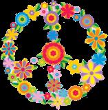 "Flower Peace Sign - Small Bumper Sticker / Decal - 3"" Circular"