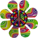 "Peace Daisy - Small Bumper Sticker / Decal (3"" Circular)"
