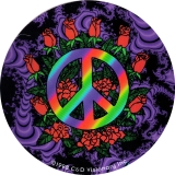 "Peace & Roses - Small Bumper Sticker / Decal (3"" Circular)"