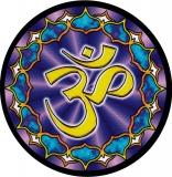 "Lotus Om - Small Bumper Sticker / Decal (3"" Circular)"