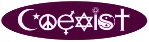 "Coexist (purple oval) - Small Bumper Sticker / Decal (5.5"" X 1.5"")"