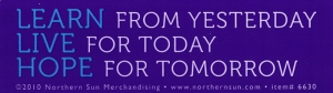 Learn from Yesterday, Live for Today, Hope for Tomorrow - Small Bumper Sticker /
