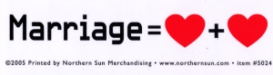 "Marriage Equals Love Plus Love - Small Bumper Sticker /Decal (5"" X 1.5"")"