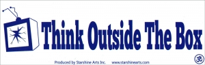 "Think Outside the Box - Small Bumper Sticker / Decal (5.5"" X 1.75"")"