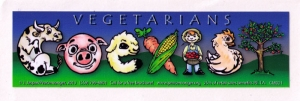 "Vegetarian Coexist - Small Bumper Sticker / Decal (5.5"" X 1.5"")"
