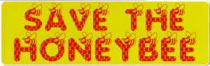 "Save the Honey Bee - Small Bumper Sticker / Decal (5.5"" X 1.75"")"
