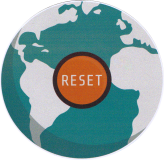 "Reset Earth - Small Bumper Sticker / Decal (3"" Circular)"