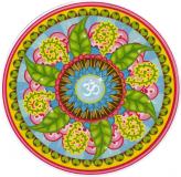 "Om Mandala - Small Bumper Sticker / Decal (3"" Circular)"