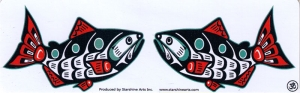 "Kissing Salmon - Small Bumper Sticker / Decal (5.5"" X 1.75"")"