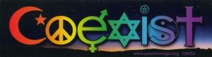 "Coexist Twilight Interfaith - Small Bumper Sticker / Decal (5"" X 1.5"")"