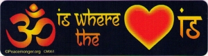 "Om is where the Heart is - Small Bumper Sticker / Decal (5.5"" X 1.5"")"
