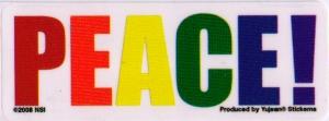 """PEACE! - Small Bumper Sticker / Decal (3.5"""" X 1.5"""")"""