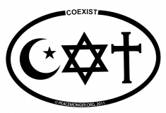 "Coexist - Small Bumper Sticker / Decal (3"" x 2"" oval)"