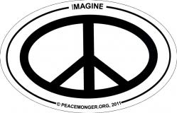 """Imagine Peace - Small Bumper Sticker / Decal (3"""" x 2"""" oval)"""