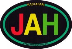 """Rastafari Jah - Small Bumper Sticker / Decal (3"""" x 2"""" oval)"""
