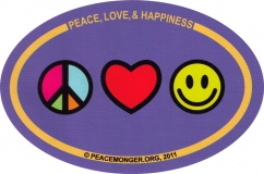 "Peace Love and Happiness - Small Bumper Sticker / Decal (3"" x 2"" oval)"