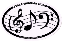 "Peace Through Music - Small Bumper Sticker / Decal (3"" x 2"" oval)"