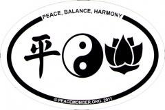 "Peace Balance Harmony - Small Bumper Sticker / Decal (3"" x 2"" oval)"