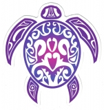 "Tribal Turtle - Small Bumper Sticker / Decal (3"" x 3"")"