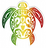 "Tribal Turtle (Rasta colors) - Small Bumper Sticker / Decal (3"" x 3"")"