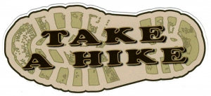 "Take a Hike - Small Bumper Sticker / Decal (6"" X 2.5"")"