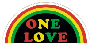"One Love Rainbow - Small Bumper Sticker / Decal (4"" X 2"")"