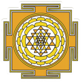 "Sri Yantra (yellow) - Small Bumper Sticker / Decal (3.5"" X 3.5"")"
