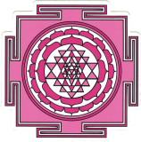 "Sri Yantra (pink) - Small Bumper Sticker / Decal (3.5"" X 3.5"")"