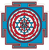 "Sri Yantra (blue) - Small Bumper Sticker / Decal (3.5"" X 3.5"")"
