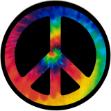 "Peace Sign (Tie Dye) - Small Bumper Sticker / Decal (3.5"" Circular)"