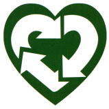 "Recycle Heart - Small Bumper Sticker / Decal (3"" X 3"")"