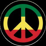 "Peace Sign (Rasta Colors) - Small Bumper Sticker / Decal (3.5"" Circular)"
