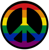 "Peace Sign (Rainbow) - Small Bumper Sticker / Decal (3.5"" Circular)"
