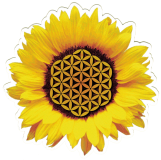 "Sunflower of Life - Small Bumper Sticker / Decal (4"" X 4"")"
