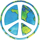 "Peace Sign Over Earth - Small Bumper Sticker / Decal (3.25"" Circular)"
