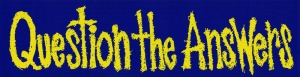 "Question the Answers - Small Bumper Sticker / Decal (5.5"" X 1.5"")"