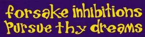 Forsake Inhibitions Pursue Thy Dreams - Small Bumper Sticker / Decal