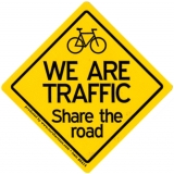 """We Are Traffic - Share the Road - Small Bumper Sticker / Decal (3"""" X 3"""")"""