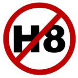 "NO H8 (No Hate) - Small Bumper Sticker / Decal (3.5"" Circular)"