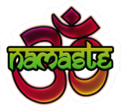 "Namaste & Om - Small Bumper Sticker / Decal (3"" X 3"")"