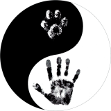 "Hand Paw Yin Yang - Small Bumper Sticker / Decal (3.25"" Circular)"